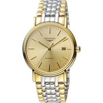 LONGINES Presence 經典優雅機械腕錶-金x雙色版/38mm L49212327