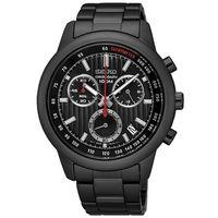 SEIKO 精工 帥氣三眼計時鋼帶錶-鍍黑/43mm SSB219P1/8T68-00A0SD