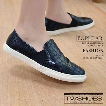 【TW Shoes】仿鱷魚紋亮皮樂福懶人鞋【K120A3489】