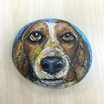 【纖維藝術家-龐一】石頭創作-大鼻狗