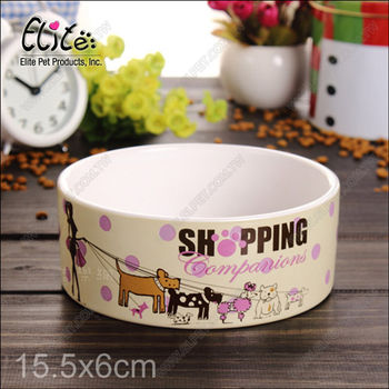 美國Elite《美式印花陶瓷碗》中小型犬寵物碗.水碗食盆