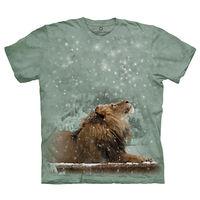 【摩達客】(預購)美國進口The Mountain Smithsonian系列雪中獅 純棉環保短袖T恤