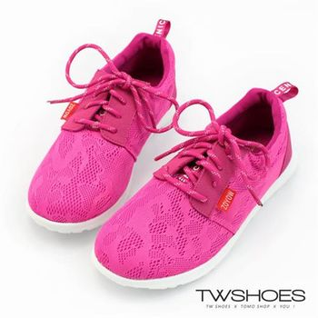 【TW Shoes】舒適透氣蕾絲花布拼接綁帶休閒鞋【K124AE8004】