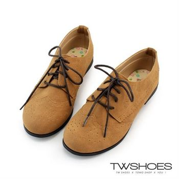 【TW Shoes】英倫紳士復古雕花綁帶牛津低跟休閒鞋【K130BE9003】