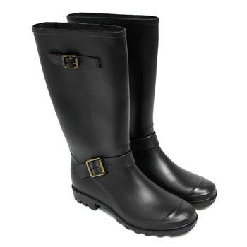 【Pretty】率性霧面雙皮帶扣飾長筒雨靴-黑色
