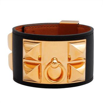HERMES collier de chien金屬鉚釘山羊皮寬版手環(S-黑X金-R年)