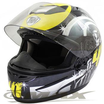 冠軍之路可掀式全罩安全帽TS41A黑黃+新一代免洗安全帽內襯套6入