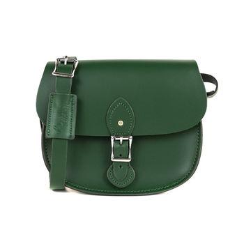 【The Leather Satchel Co.】英國原裝手工牛皮馬鞍包 肩背 側背手拿包 (郵差綠)