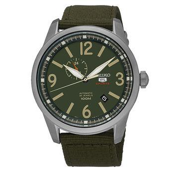 SEIKO 精工5號 二地時間 大三針運動帆布機械錶-軍綠/45mm SSA299J1/4R37-01D0G