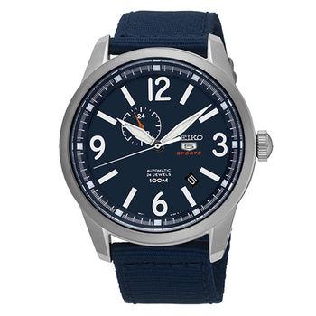 SEIKO 精工5號 二地時間 大三針運動帆布機械錶-藍/45mm SSA301J1/4R37-01D0B