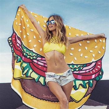 漢堡食物歐美仿真防曬沙灘巾野餐墊