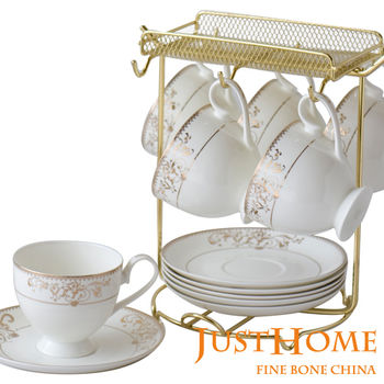 【Just Home】燦金骨瓷6入咖啡杯盤組附架(附禮盒)