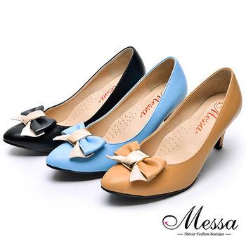 【Messa米莎專櫃女鞋】MIT蝴蝶綁帶女孩內真皮高跟鞋-三色