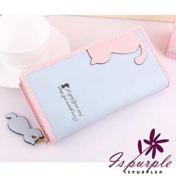 【iSPurple】貓咪倩影*可放手機皮革長夾/藍粉