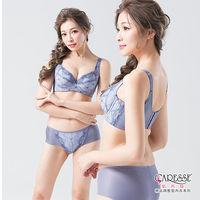 凱芮絲(A-C)MIT精品-391061珍夏花語,蕾絲立體杯機能內衣(套) 灰藍色