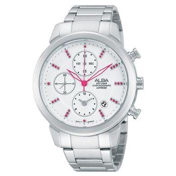 ALBA 夢幻旅程三眼計時晶鑽腕錶-銀/38mm YM92-X258S(AF8T13X1)