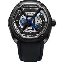 DIETRICH OT系列 生化機械碳纖維鏤空腕錶-黑x藍指針/46mm OT-4