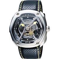 DIETRICH OT系列 生化機械鏤空腕錶-黑x黃指針/46mm OT-3