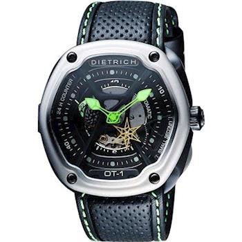 DIETRICH OT系列 生化機械鏤空腕錶-黑x綠指針/46mm OT-1