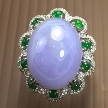 【絕世精品】森茂珠寶 緬甸天然翡翠A貨 紫羅蘭蛋面鑽戒18K玫瑰金 C896