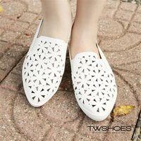 【TOMO】超軟皮雕花鏤空滾邊尖頭鞋【K130A2668】