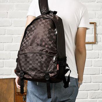 DF Bagschool - 英倫學院風時尚棋盤格輕巧多夾層防水後背包-共2色