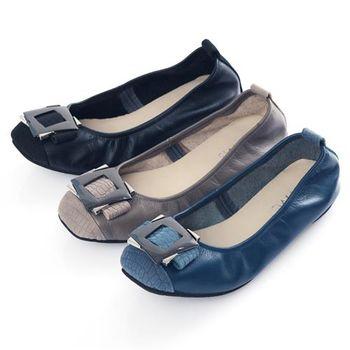 G.Ms. MIT系列-拼接鱷魚紋金屬飾釦牛皮娃娃鞋-3色