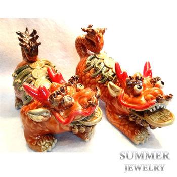 SUMMER 寶石 吉祥神獸-麒麟《開運紅》(手工交趾陶)