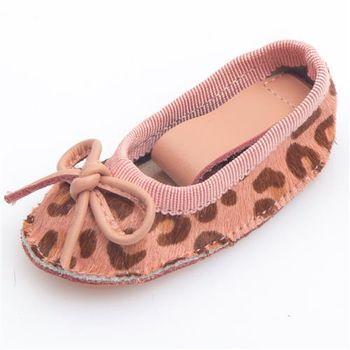 G.Ms. 全真皮豹紋馬毛蝴蝶結娃娃鞋鑰匙圈-粉紅