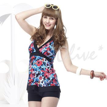 【聖手品牌】繽紛玫瑰彩繪時尚二件式泳裝 NO.A92438 (現貨+預購)