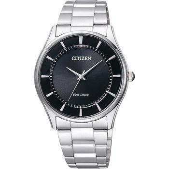 CITIZEN 星辰 光動能城市腕錶-黑x銀/36mm BJ6481-58E