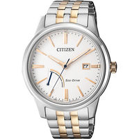 CITIZEN 星辰 光動能電量等級顯示腕錶-白x雙色版/41mm AW7004-57A