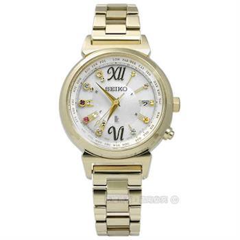 SEIKO 精工 / 1B25-0AN0K.SSVV026J / LUKIA 限量高貴奢華晶鑽太陽能電波不鏽鋼手錶 銀x鍍金 28mm