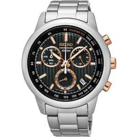 SEIKO CS系列 突擊隊計時碼錶-黑x玫塊金/ 42mm 8T68-00A0P(SSB215P1)