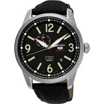SEIKO 精工5號盾牌24石紳士風機械腕錶-黑/42mm 4R37-01D0L(SSA297J1)