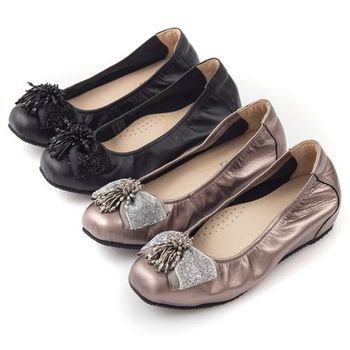 G.Ms. MIT系列-牛皮串珠金蔥布蝴蝶結方頭內增高鞋-2色