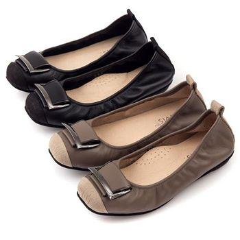 G.Ms. MIT系列-拼接鱷魚紋皮帶飾釦牛皮娃娃鞋-2色