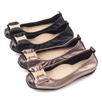 G.Ms. MIT系列-牛皮金飾穿釦蝴蝶結芭蕾舞娃娃鞋-2色