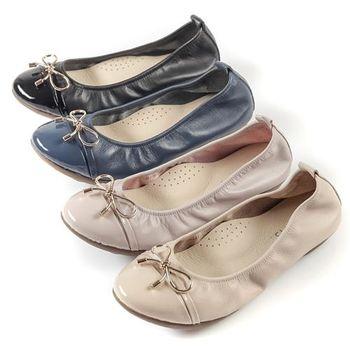 G.Ms. MIT系列-金屬蝴蝶結漆皮拼接牛皮娃娃鞋-4色