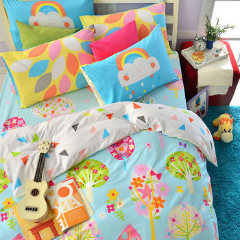 英國Abelia《繽紛花園》雙人純棉四件式被套床包組