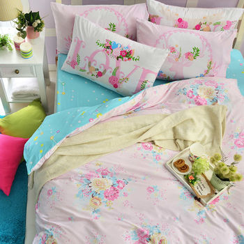 英國Abelia《粉漾花語》雙人純棉四件式被套床包組