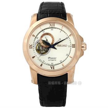SEIKO 精工 / 4R39-00P0P.SSA326J1 / Premier 絕世羅馬藍寶石水晶機械壓紋真皮手錶 銀白x玫瑰金框x黑 41mm
