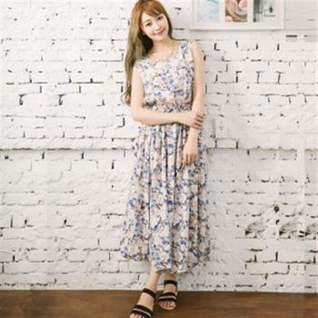 【愛瑞琪IRICHI】女神系優雅氣質100%棉長洋裝(水藍花朵)