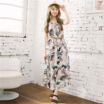 【愛瑞琪IRICHI】日系彩繪100%棉長洋裝(米白塗鴉)