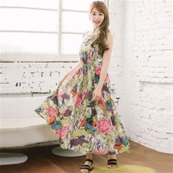 【愛瑞琪IRICHI】日系塗鴉100%棉長洋裝(彩色水墨綠)