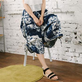 【愛瑞琪IRICHI】日系彩繪修身100%亞麻褲