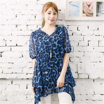 【愛瑞琪IRICHI】時尚豹紋雪紡加大長上衣(藍色)