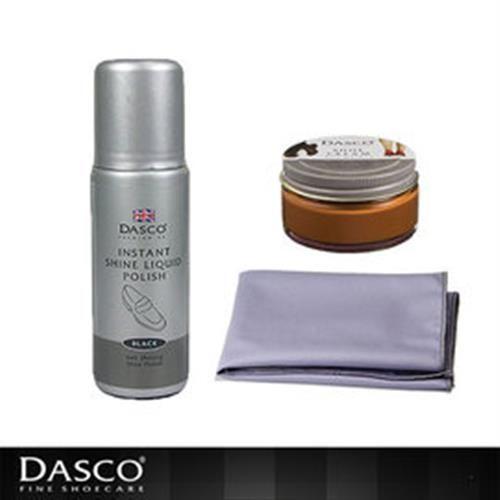 【鞋之潔】英國伯爵DASCO黑皮鞋亮光保養組 蜜蠟鞋膏+潔亮鞋液+超細纖維拋光布