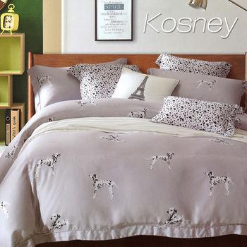 【KOSNEY】大麥丁灰 加大100%天絲TENCE六件式兩用被床罩組送羽絲絨被