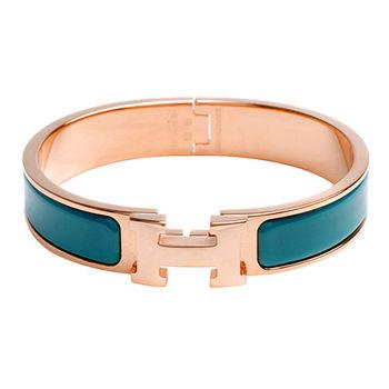 HERMES Clic H LOGO琺瑯細版手環(藍綠X玫瑰金)